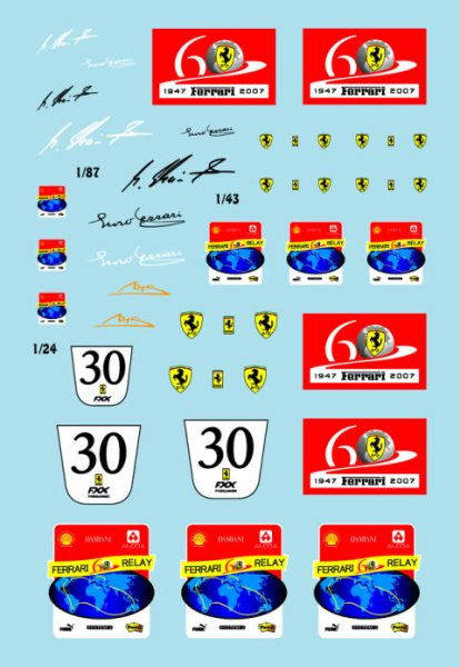Photo1: 1/24, 43, 87 Ferrari 60th anniversary emblem Decal (1)